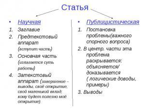 Статья Научная Заглавие Предтекстовый аппарат (вступит.часть) Основная часть (из