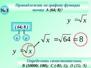 Принадлежит ли графику функции точка А (64; 8)? Определить самостоятельно. В (10