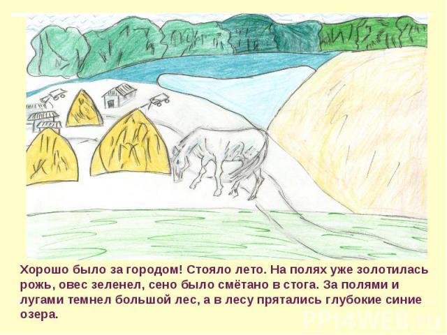 Хорошо было за городом! Стояло лето. На полях уже золотилась рожь, овес зеленел, сено было смётано в стога. За полями и лугами темнел большой лес, а в лесу прятались глубокие синие озера.