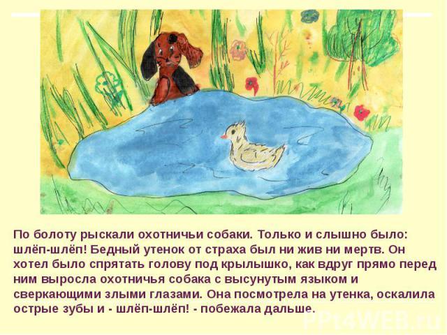 По болоту рыскали охотничьи собаки. Только и слышно было: шлёп-шлёп! Бедный утенок от страха был ни жив ни мертв. Он хотел было спрятать голову под крылышко, как вдруг прямо перед ним выросла охотничья собака с высунутым языком и сверкающими злыми г…