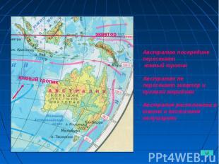 Австралию посередине пересекает южный тропик Австралию не пересекает экватор и н