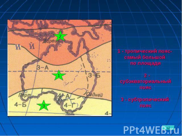 1 - тропический пояс- самый большой по площади 2 - субэкваториальный пояс 3 - субтропический пояс