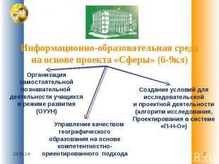 Информационно-образовательная среда на основе проекта «Сферы» (6-9кл) Организаци