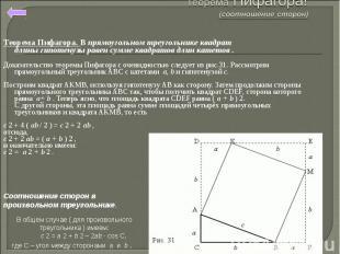 Теорема Пифагора. В прямоугольном треугольнике квадрат длиныгипотенузы равен су