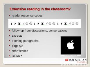 Extensive reading in the classroom? reader response codes follow-up from discuss