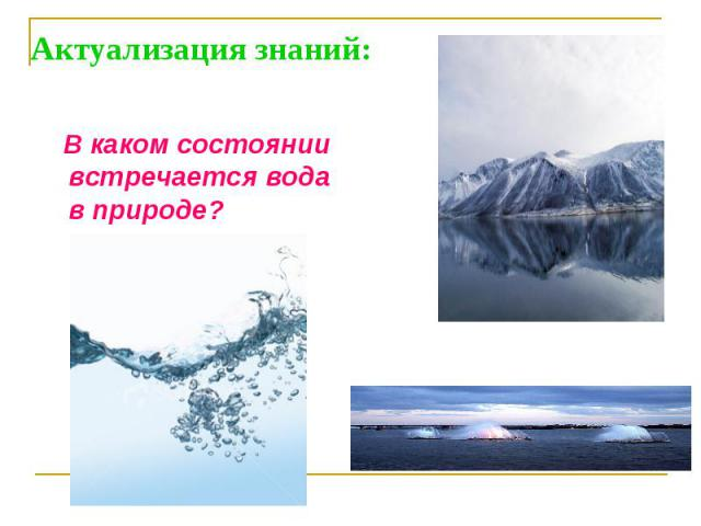 Актуализация знаний: В каком состоянии встречается вода в природе?