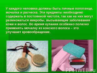 У каждого человека должны быть личные полотенце, мочалка и расческа. Эти предмет