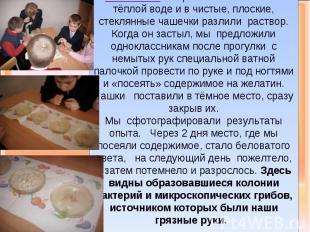 ОПЫТ №2: Мы разбавили желатин в тёплой воде и в чистые, плоские, стеклянные чаше