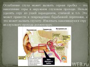 Ослабление слуха может вызвать серная пробка – это накопление серы в наружном сл