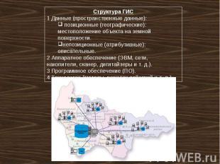 Структура ГИС 1 Данные (пространственные данные): позиционные (географические):