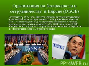 Организация по безопасности и сотрудничеству в Европе (ОБСЕ) Существует с 1975