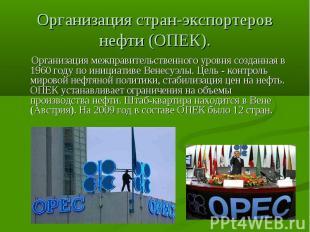Организация стран-экспортеров нефти (ОПЕК). Организация межправительственного у
