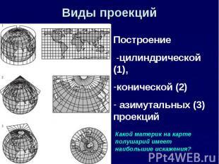 Виды проекций Построение -цилиндрической (1), конической (2) азимутальных (3) пр