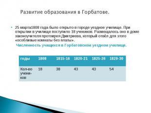 Развитие образования в Горбатове.25 марта1808 года было открыто в городе уездное