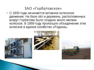ЗАО «Горбатовское»С 1930 года начинается активное колхозное движение. На базе сё
