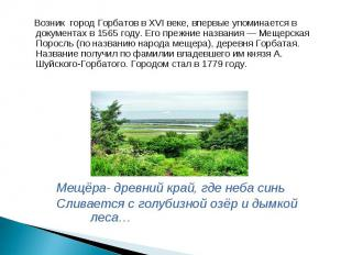 Возник город Горбатов вXVI веке, впервые упоминается в документах в1565 году.
