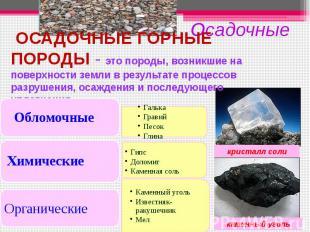 ОСАДОЧНЫЕ ГОРНЫЕ ПОРОДЫ - это породы, возникшие на поверхности земли в результат