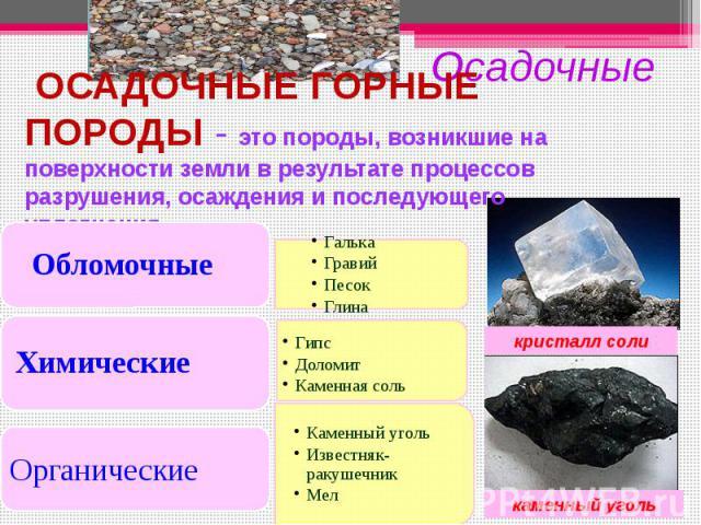 ОСАДОЧНЫЕ ГОРНЫЕ ПОРОДЫ - это породы, возникшие на поверхности земли в результате процессов разрушения, осаждения и последующего уплотнения.