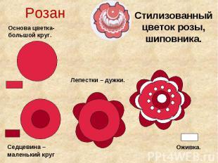 Розан Основа цветка- большой круг. Стилизованный цветок розы, шиповника. Седцеви