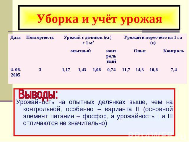 Уборка и учёт урожая Урожайность на опытных делянках выше, чем на контрольной, особенно – варианта II (основной элемент питания – фосфор, а урожайность I и III отличаются не значительно)