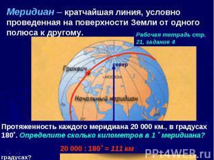 Меридиан – кратчайшая линия, условно проведенная на поверхности Земли от одного