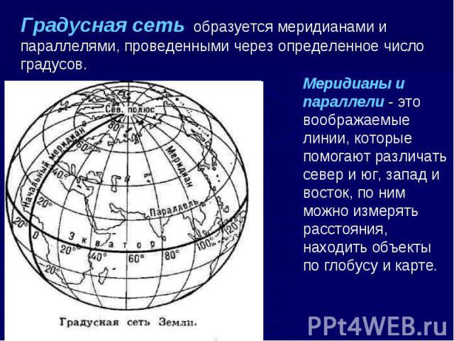 Градусная сеть образуется меридианами и параллелями, проведенными через определенное число градусов. Меридианы и параллели - это воображаемые линии, которые помогают различать север и юг, запад и восток, по ним можно измерять расстояния, находить об…