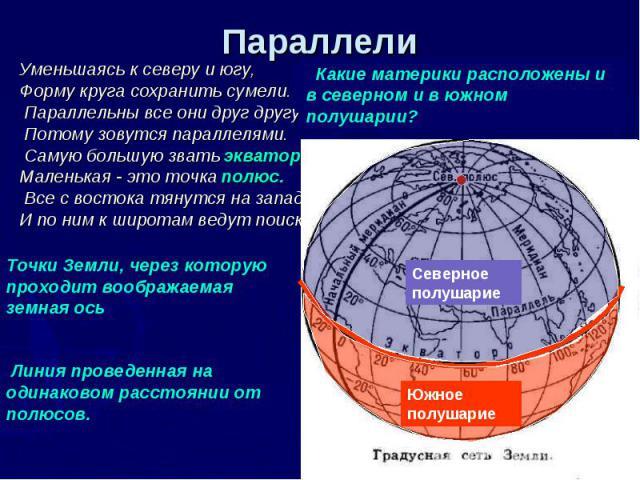 Параллели Уменьшаясь к северу и югу, Форму круга сохранить сумели. Параллельны все они друг другу, Потому зовутся параллелями. Самую большую звать экватор, Маленькая - это точка полюс. Все с востока тянутся на запад, И по ним к широтам ведут поиск. …