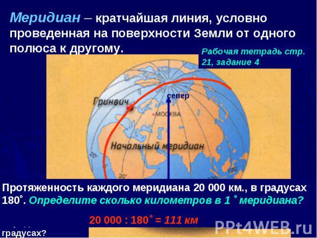 Меридиан – кратчайшая линия, условно проведенная на поверхности Земли от одного полюса к другому. Рабочая тетрадь стр. 21, задание 4 Протяженность каждого меридиана 20 000 км., в градусах 180˚. Определите сколько километров в 1 ˚ меридиана?