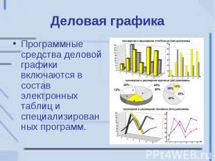 Деловая графика Программные средства деловой графики включаются в состав электро