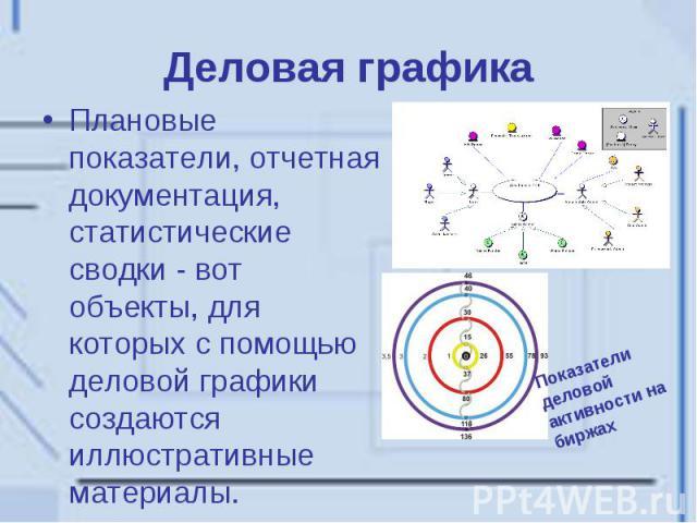 Деловая графика Плановые показатели, отчетная документация, статистические сводки - вот объекты, для которых с помощью деловой графики создаются иллюстративные материалы.