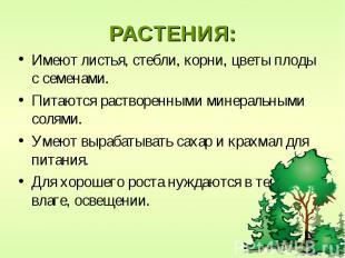 РАСТЕНИЯ: Имеют листья, стебли, корни, цветы плоды с семенами. Питаются растворе
