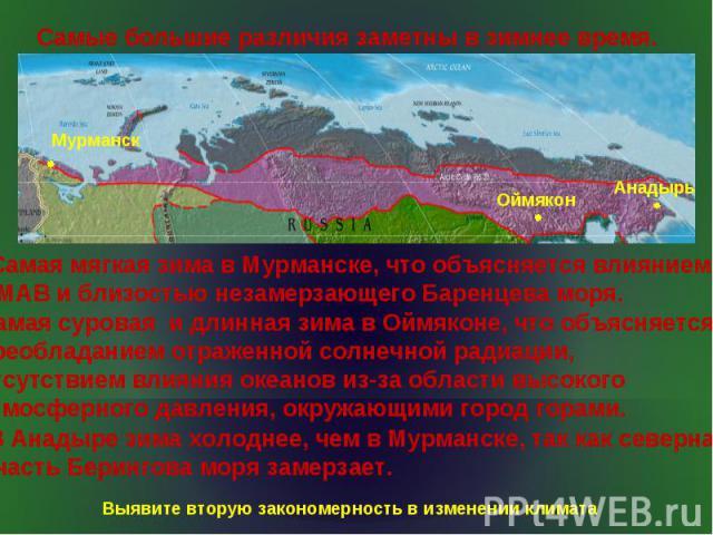 Самые большие различия заметны в зимнее время. Самая мягкая зима в Мурманске, что объясняется влиянием МАВ и близостью незамерзающего Баренцева моря. Самая суровая и длинная зима в Оймяконе, что объясняется преобладанием отраженной солнечной радиаци…