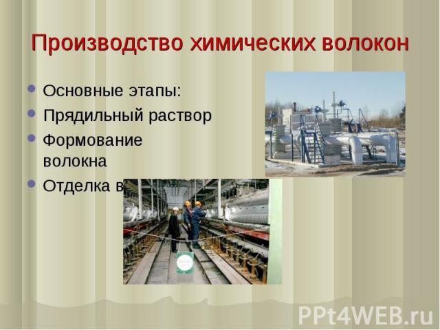Производство химических волокон Основные этапы: Прядильный раствор Формование волокна Отделка волокна