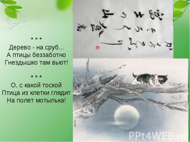 * * * Дерево - на сруб... А птицы беззаботно Гнездышко там вьют! * * * О, с какой тоской Птица из клетки глядит На полет мотылька!