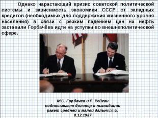 Однако нарастающий кризис советской политической системы и зависимость экономики