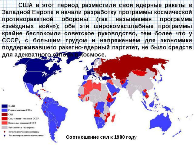 США в этот период разместили свои ядерные ракеты в Западной Европе и начали разработку программы космической противоракетной обороны (так называемая программа «звёздных войн»); обе эти широкомасштабные программы крайне беспокоили советское руководст…