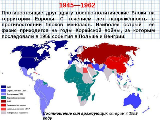 Противостоящие друг другу военно-политические блоки на территории Европы. С течением лет напряжённость в противостоянии блоков менялась. Наиболее острый её фазис приходится на годы Корейской войны, за которым последовали в 1956 события в Польше и Венгрии.