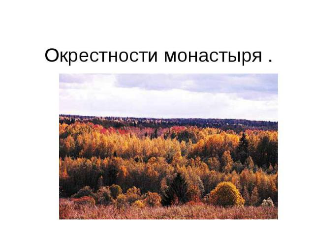 Окрестности монастыря .