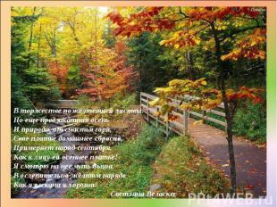 В торжестве пожелтевшей листвы. Но еще предзакатная осень И природа, от счастья