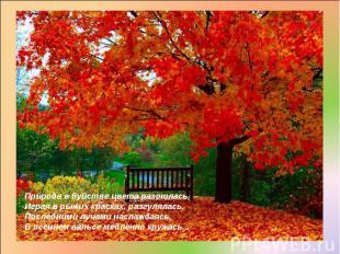 Природа в буйстве цвета разошлась, Играя в рыжих красках, разгулялась. Последним