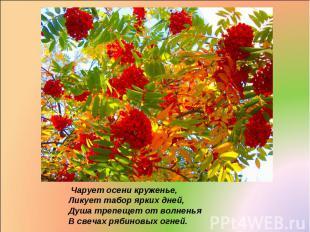 Чарует осени круженье, Ликует табор ярких дней, Душа трепещет от волненья В свеч