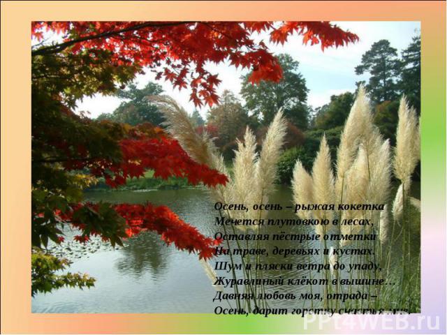 Осень, осень – рыжая кокетка Мечется плутовкою в лесах, Оставляя пёстрые отметки На траве, деревьях и кустах. Шум и пляски ветра до упаду, Журавлиный клёкот в вышине… Давняя любовь моя, отрада – Осень, дарит горстку счастья мне.