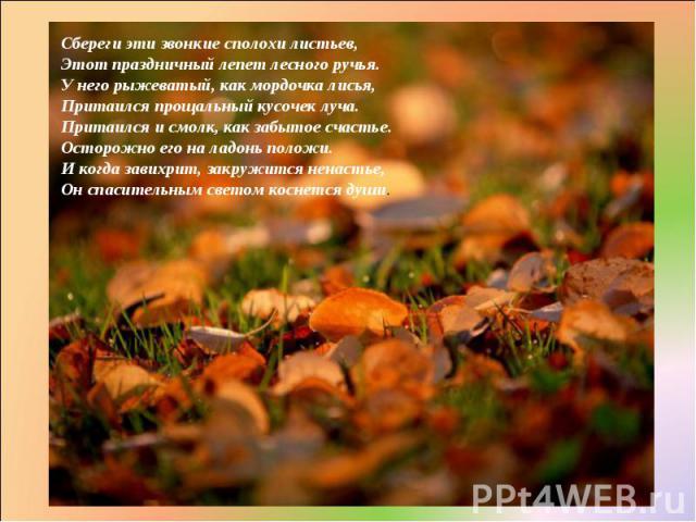 Сбереги эти звонкие сполохи листьев, Этот праздничный лепет лесного ручья. У него рыжеватый, как мордочка лисья, Притаился прощальный кусочек луча. Притаился и смолк, как забытое счастье. Осторожно его на ладонь положи. И когда завихрит, закружится …
