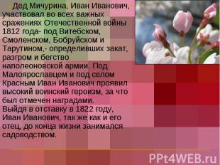 Дед Мичурина, Иван Иванович, участвовал во всех важных сражениях Отечественной в