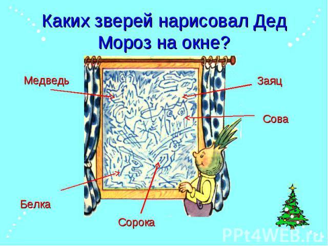 Каких зверей нарисовал Дед Мороз на окне?