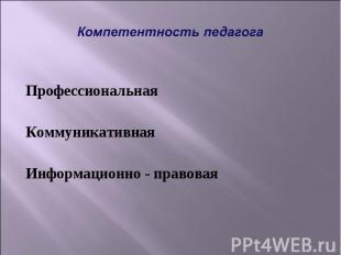 Компетентность педагога Профессиональная Коммуникативная Информационно - правова