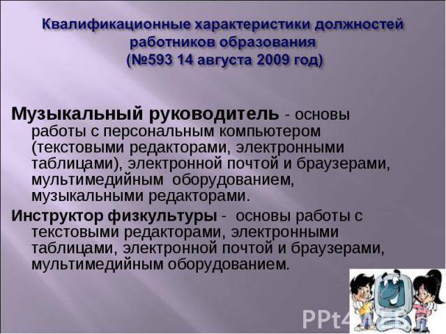 Квалификационные характеристики должностей работников образования (№593 14 августа 2009 год) Музыкальный руководитель - основы работы с персональным компьютером (текстовыми редакторами, электронными таблицами), электронной почтой и браузерами, мульт…