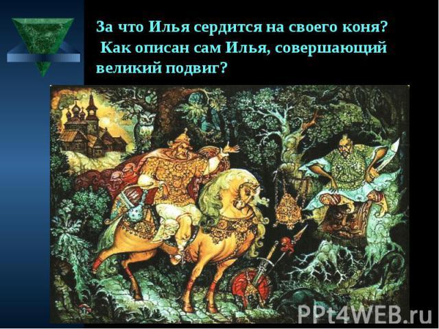 За что Илья сердится на своего коня? Как описан сам Илья, совершающий великий подвиг?