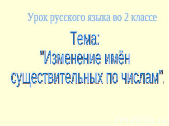 Урок русского языка во 2 классе Тема: