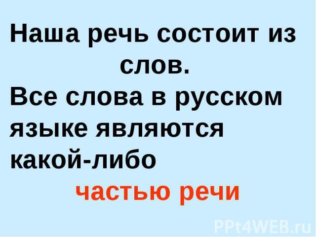 Наша речь состоит из слов. Все слова в русском языке являются какой-либо частью речи